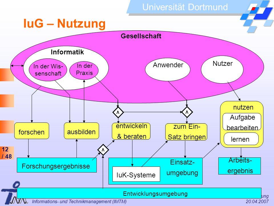 12 / 48 Universität Dortmund Dr. Isa Jahnke I&G Vorlesung Informations- und Technikmanagement (IMTM) 20.04.2007 Arbeits- ergebnis Entwicklungsumgebung
