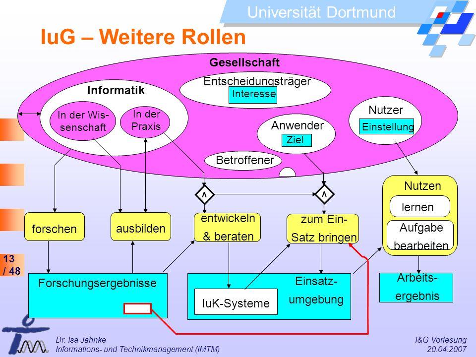 13 / 48 Universität Dortmund Dr. Isa Jahnke I&G Vorlesung Informations- und Technikmanagement (IMTM) 20.04.2007 Gesellschaft Entscheidungsträger Betro