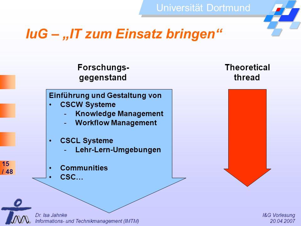 15 / 48 Universität Dortmund Dr. Isa Jahnke I&G Vorlesung Informations- und Technikmanagement (IMTM) 20.04.2007 IuG – IT zum Einsatz bringen Forschung