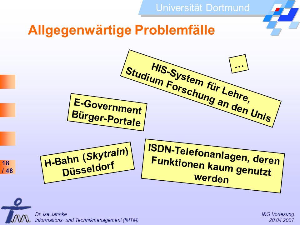 18 / 48 Universität Dortmund Dr. Isa Jahnke I&G Vorlesung Informations- und Technikmanagement (IMTM) 20.04.2007 Allgegenwärtige Problemfälle HIS-Syste