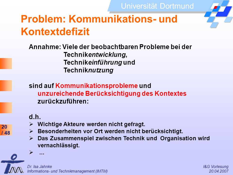 20 / 48 Universität Dortmund Dr. Isa Jahnke I&G Vorlesung Informations- und Technikmanagement (IMTM) 20.04.2007 Problem: Kommunikations- und Kontextde
