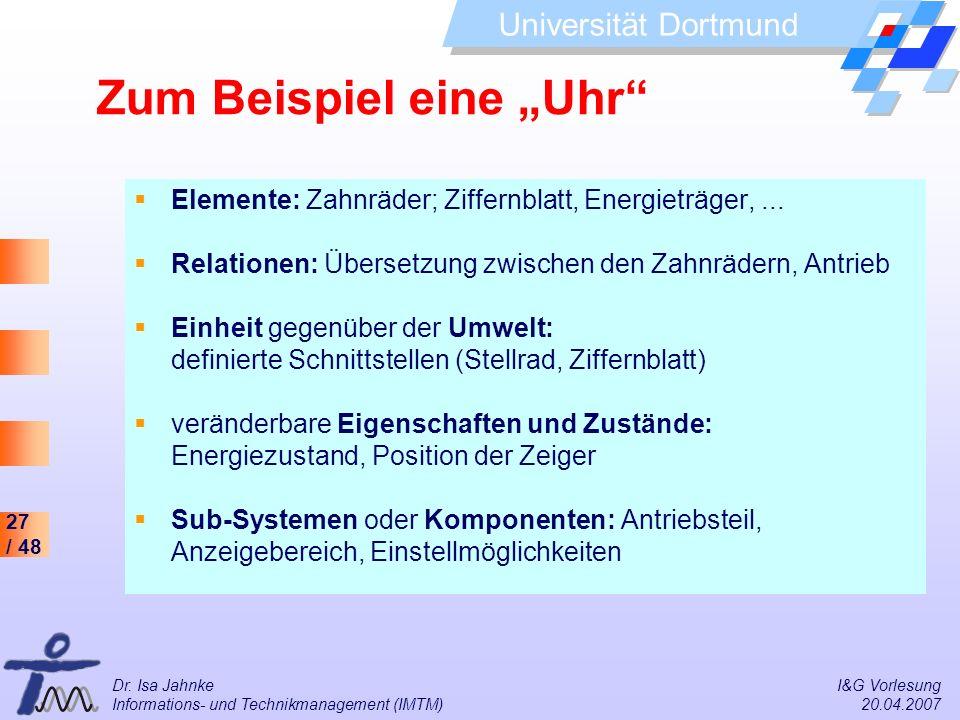 27 / 48 Universität Dortmund Dr. Isa Jahnke I&G Vorlesung Informations- und Technikmanagement (IMTM) 20.04.2007 Elemente: Zahnräder; Ziffernblatt, Ene