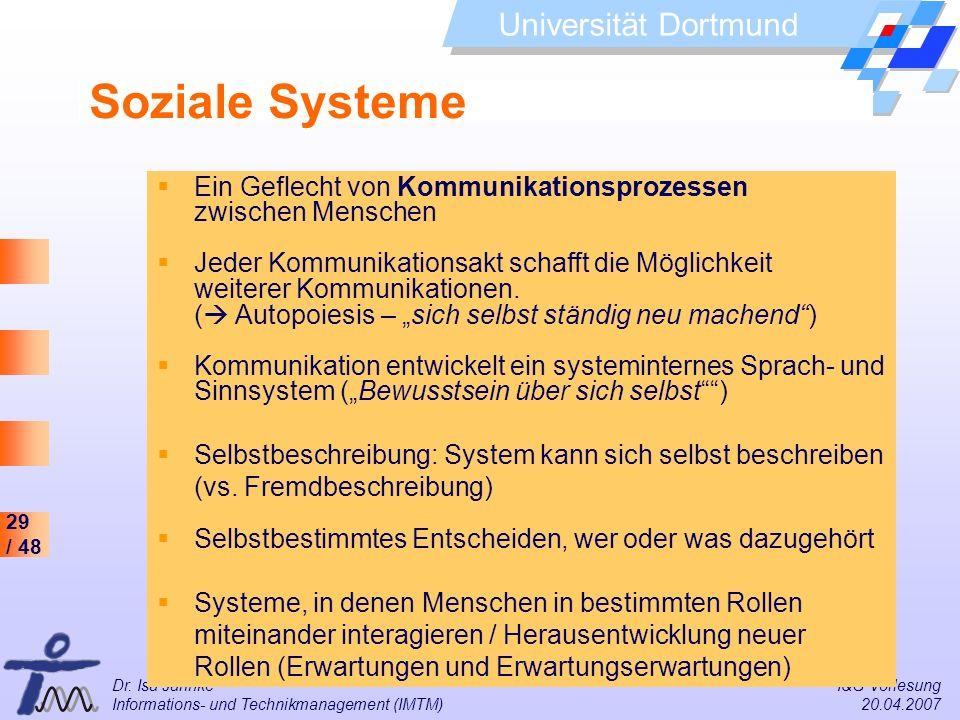 29 / 48 Universität Dortmund Dr. Isa Jahnke I&G Vorlesung Informations- und Technikmanagement (IMTM) 20.04.2007 Ein Geflecht von Kommunikationsprozess