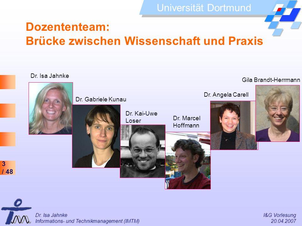 3 / 48 Universität Dortmund Dr. Isa Jahnke I&G Vorlesung Informations- und Technikmanagement (IMTM) 20.04.2007 Dozententeam: Brücke zwischen Wissensch