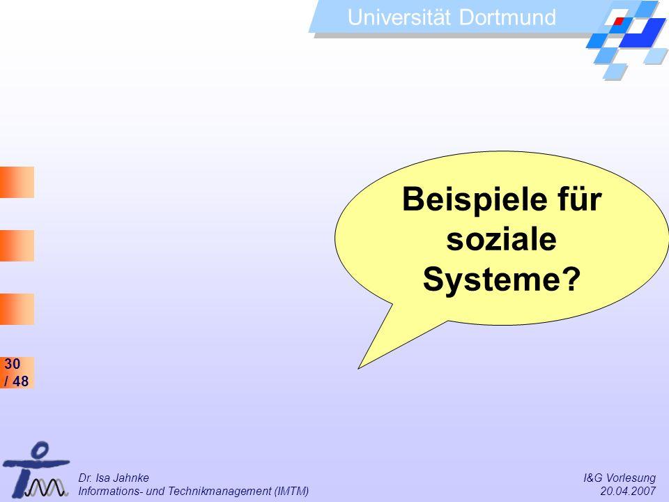 30 / 48 Universität Dortmund Dr. Isa Jahnke I&G Vorlesung Informations- und Technikmanagement (IMTM) 20.04.2007 Beispiele für soziale Systeme?
