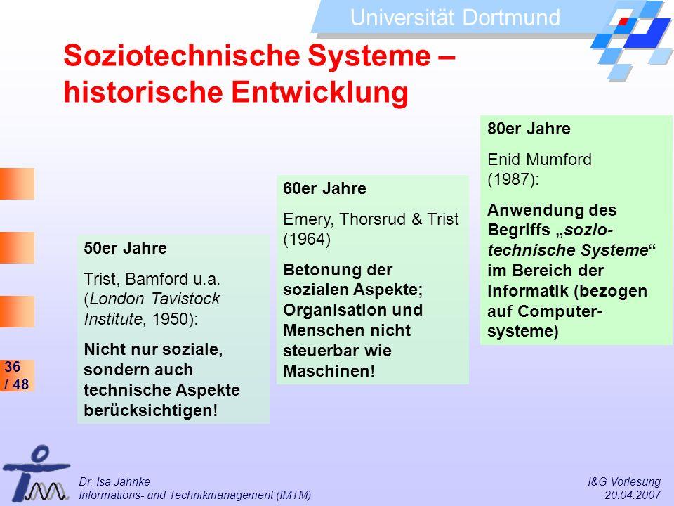 36 / 48 Universität Dortmund Dr. Isa Jahnke I&G Vorlesung Informations- und Technikmanagement (IMTM) 20.04.2007 50er Jahre Trist, Bamford u.a. (London