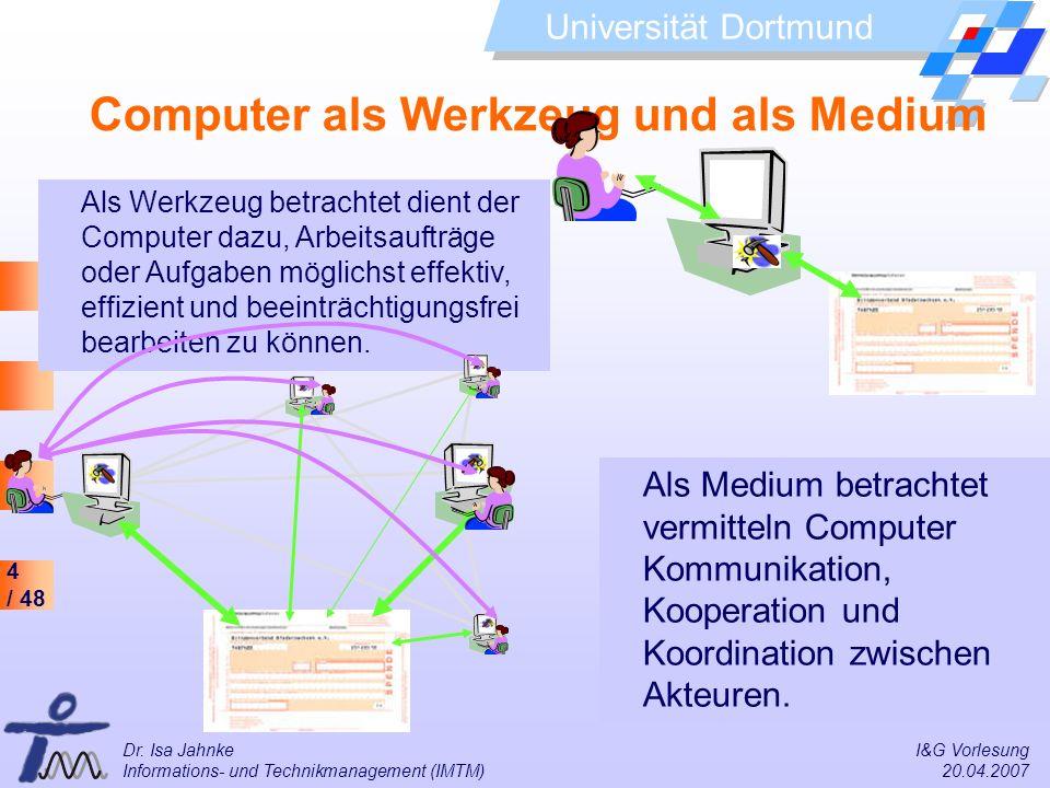 4 / 48 Universität Dortmund Dr. Isa Jahnke I&G Vorlesung Informations- und Technikmanagement (IMTM) 20.04.2007 Computer als Werkzeug und als Medium Al