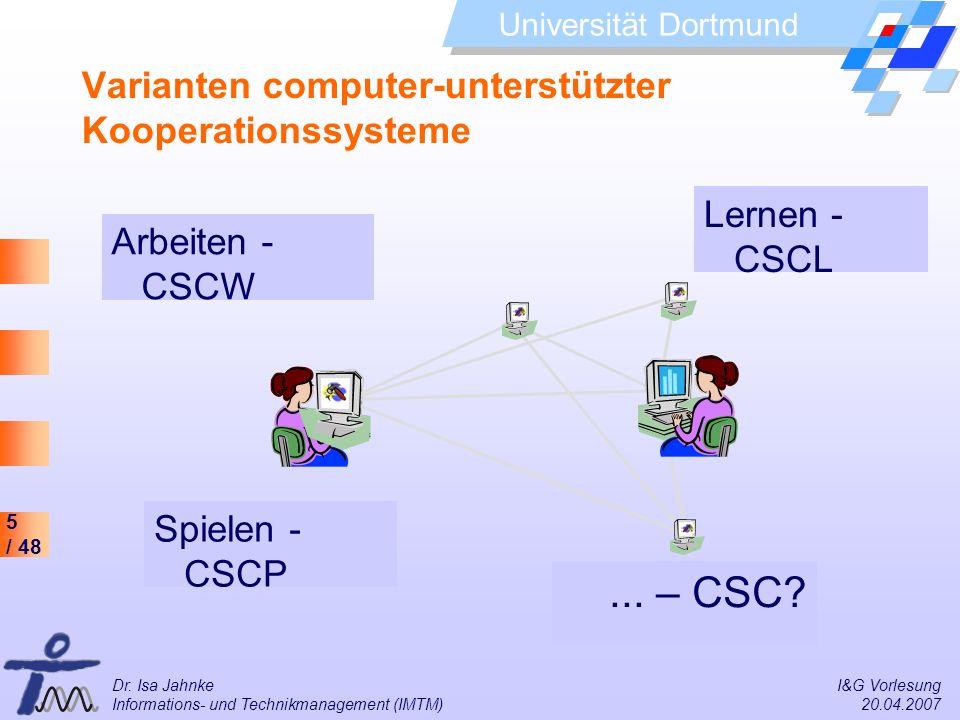 5 / 48 Universität Dortmund Dr. Isa Jahnke I&G Vorlesung Informations- und Technikmanagement (IMTM) 20.04.2007 Varianten computer-unterstützter Kooper