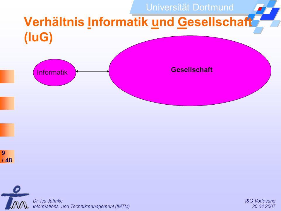9 / 48 Universität Dortmund Dr. Isa Jahnke I&G Vorlesung Informations- und Technikmanagement (IMTM) 20.04.2007 Gesellschaft Verhältnis Informatik und