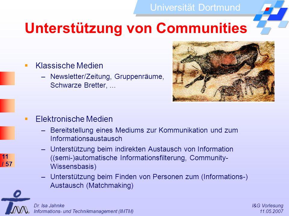 11 / 57 Universität Dortmund Dr. Isa Jahnke I&G Vorlesung Informations- und Technikmanagement (IMTM) 11.05.2007 Unterstützung von Communities Klassisc