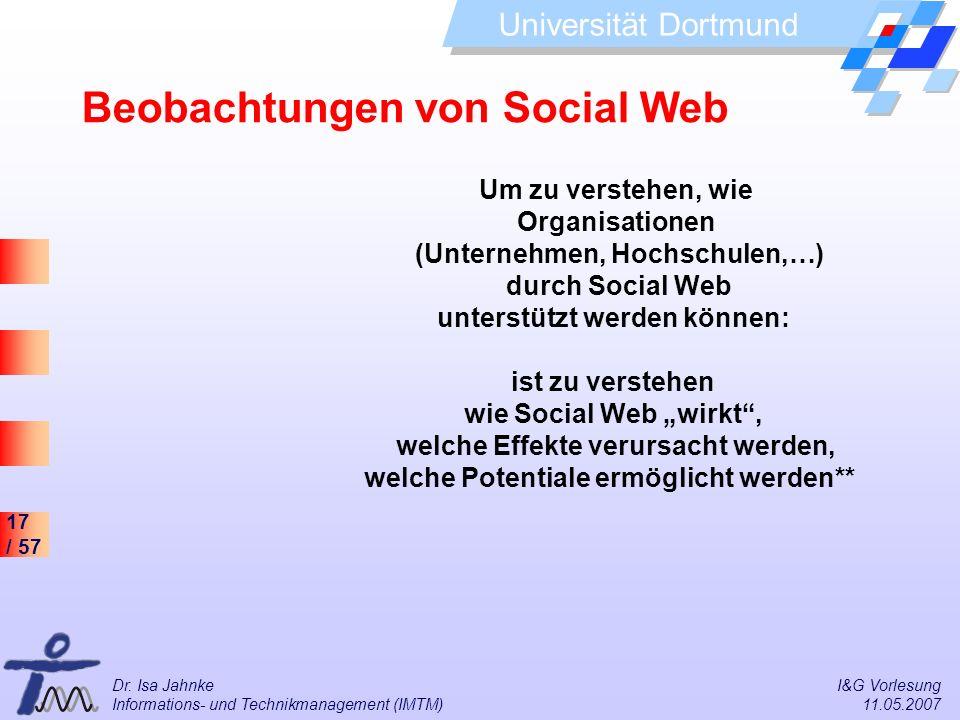 17 / 57 Universität Dortmund Dr. Isa Jahnke I&G Vorlesung Informations- und Technikmanagement (IMTM) 11.05.2007 Beobachtungen von Social Web Um zu ver