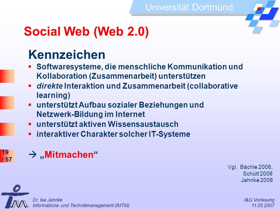 19 / 57 Universität Dortmund Dr. Isa Jahnke I&G Vorlesung Informations- und Technikmanagement (IMTM) 11.05.2007 Social Web (Web 2.0) Kennzeichen Softw
