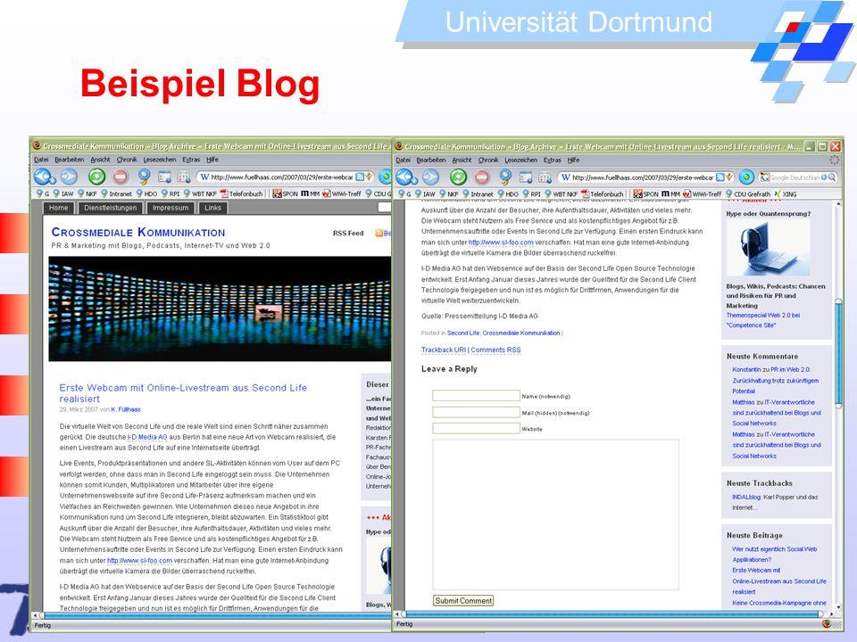 Universität Dortmund Beispiel Blog