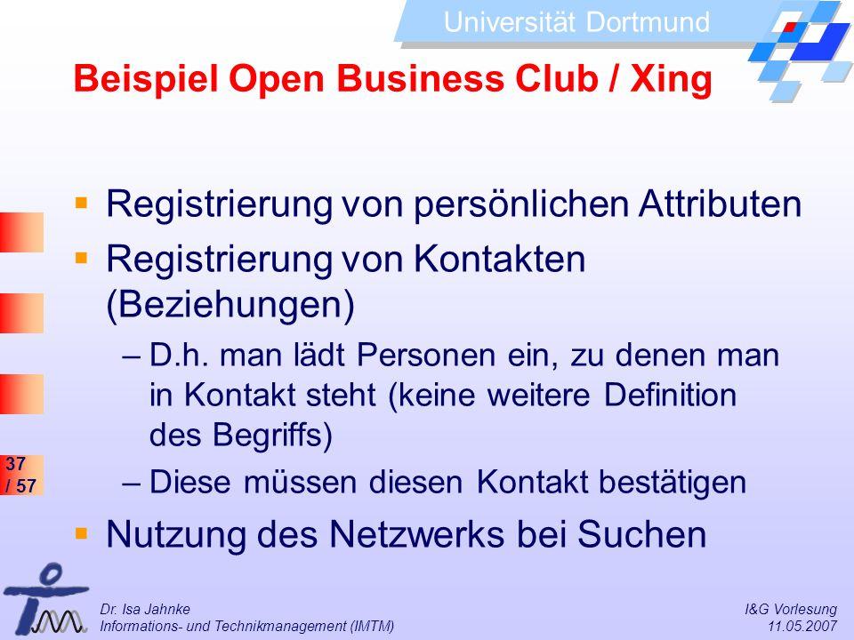 37 / 57 Universität Dortmund Dr. Isa Jahnke I&G Vorlesung Informations- und Technikmanagement (IMTM) 11.05.2007 Beispiel Open Business Club / Xing Reg