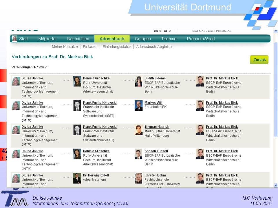 42 / 57 Universität Dortmund Dr. Isa Jahnke I&G Vorlesung Informations- und Technikmanagement (IMTM) 11.05.2007