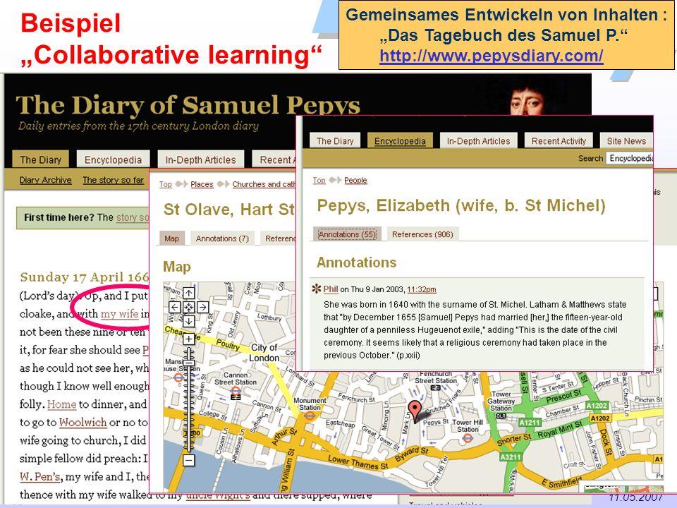 43 / 57 Universität Dortmund Dr. Isa Jahnke I&G Vorlesung Informations- und Technikmanagement (IMTM) 11.05.2007 Gemeinsames Entwickeln von Inhalten :