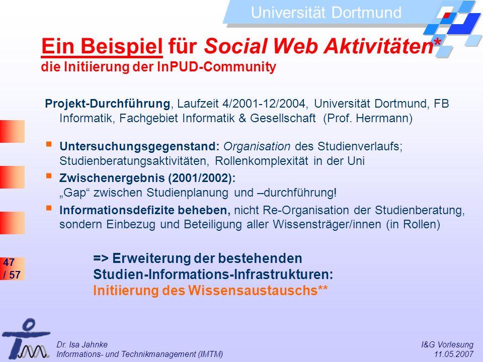 47 / 57 Universität Dortmund Dr. Isa Jahnke I&G Vorlesung Informations- und Technikmanagement (IMTM) 11.05.2007 Ein Beispiel für Social Web Aktivitäte