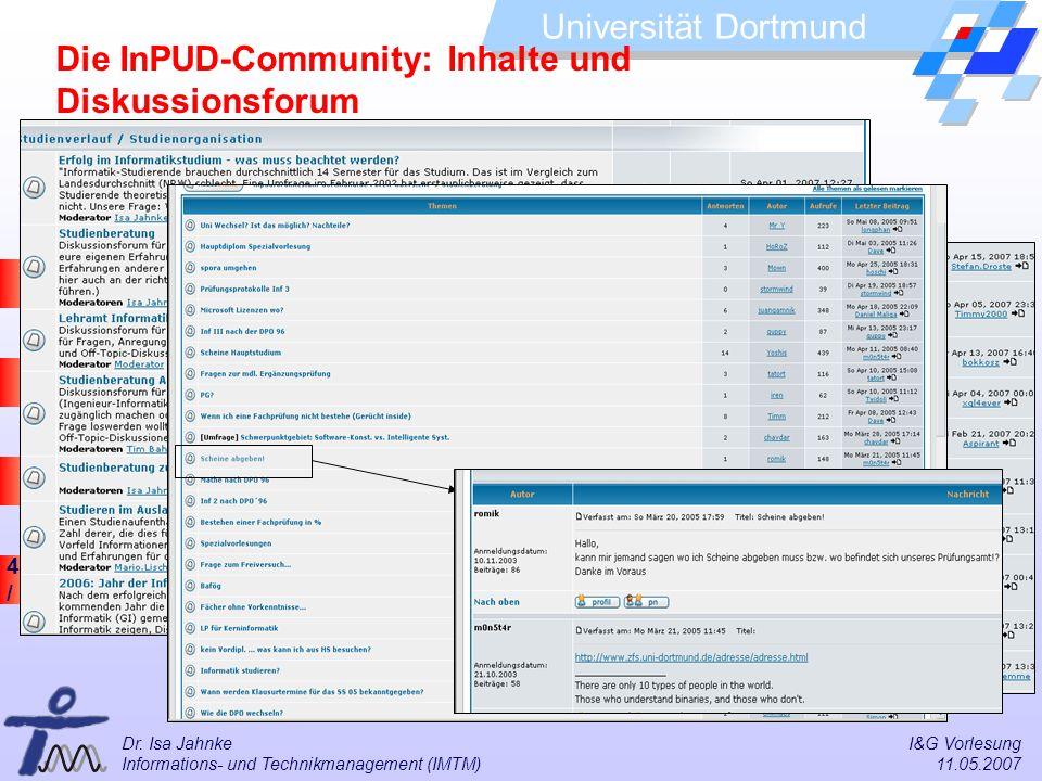 49 / 57 Universität Dortmund Dr. Isa Jahnke I&G Vorlesung Informations- und Technikmanagement (IMTM) 11.05.2007 Die InPUD-Community: Inhalte und Disku