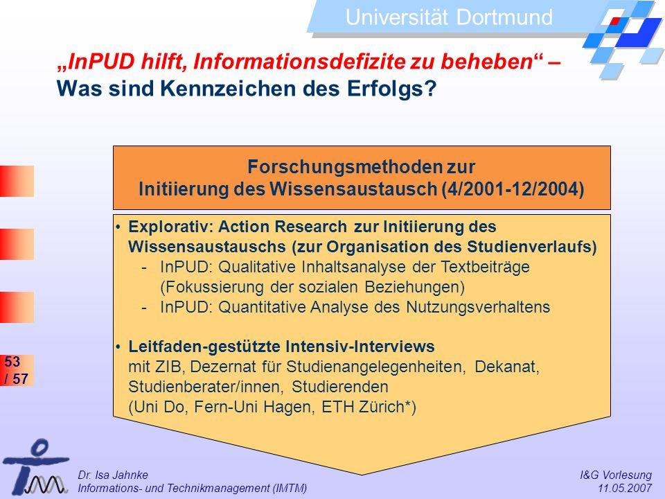 53 / 57 Universität Dortmund Dr. Isa Jahnke I&G Vorlesung Informations- und Technikmanagement (IMTM) 11.05.2007 InPUD hilft, Informationsdefizite zu b