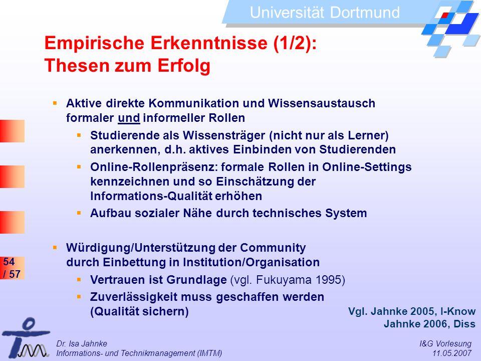 54 / 57 Universität Dortmund Dr. Isa Jahnke I&G Vorlesung Informations- und Technikmanagement (IMTM) 11.05.2007 Empirische Erkenntnisse (1/2): Thesen