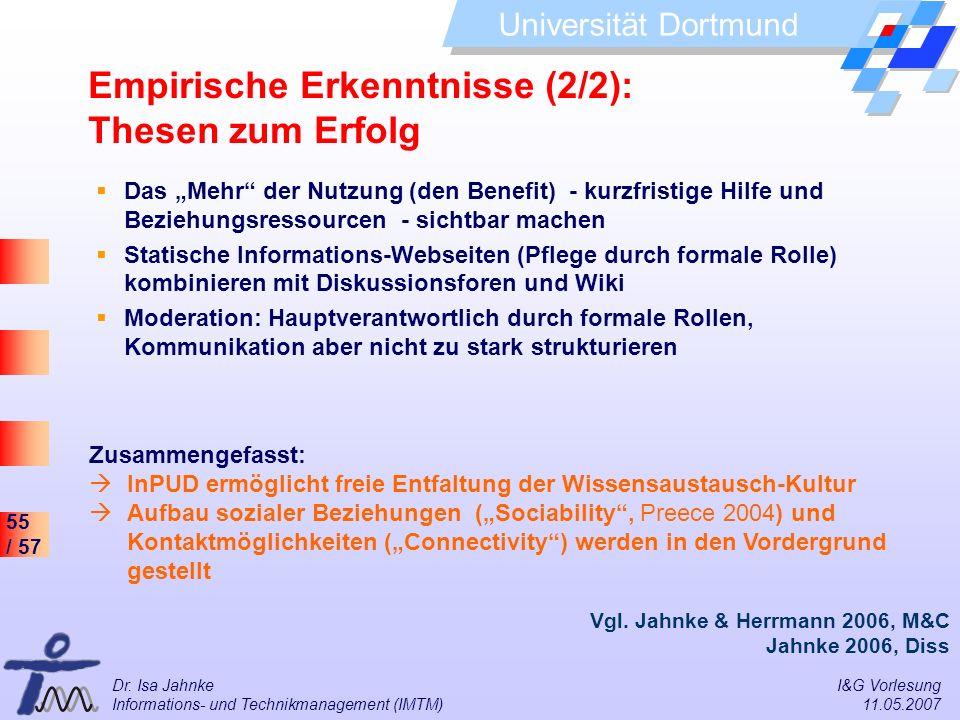 55 / 57 Universität Dortmund Dr. Isa Jahnke I&G Vorlesung Informations- und Technikmanagement (IMTM) 11.05.2007 Empirische Erkenntnisse (2/2): Thesen