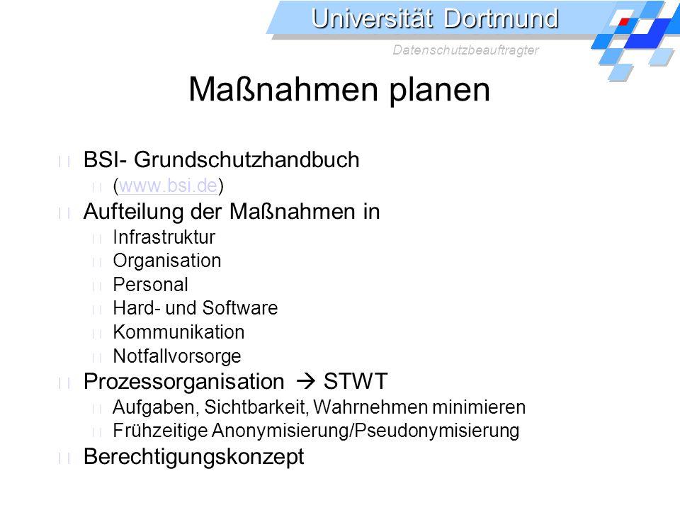 Universität Dortmund Datenschutzbeauftragter Maßnahmen planen BSI- Grundschutzhandbuch (www.bsi.de)www.bsi.de Aufteilung der Maßnahmen in Infrastruktu