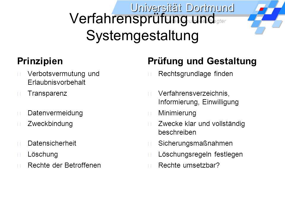 Universität Dortmund Datenschutzbeauftragter Verfahrensprüfung und Systemgestaltung Prinzipien Verbotsvermutung und Erlaubnisvorbehalt Transparenz Dat