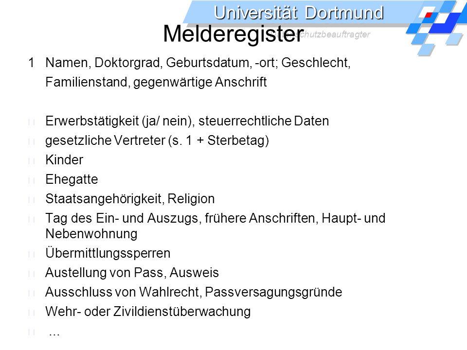 Universität Dortmund Datenschutzbeauftragter Staatlich.