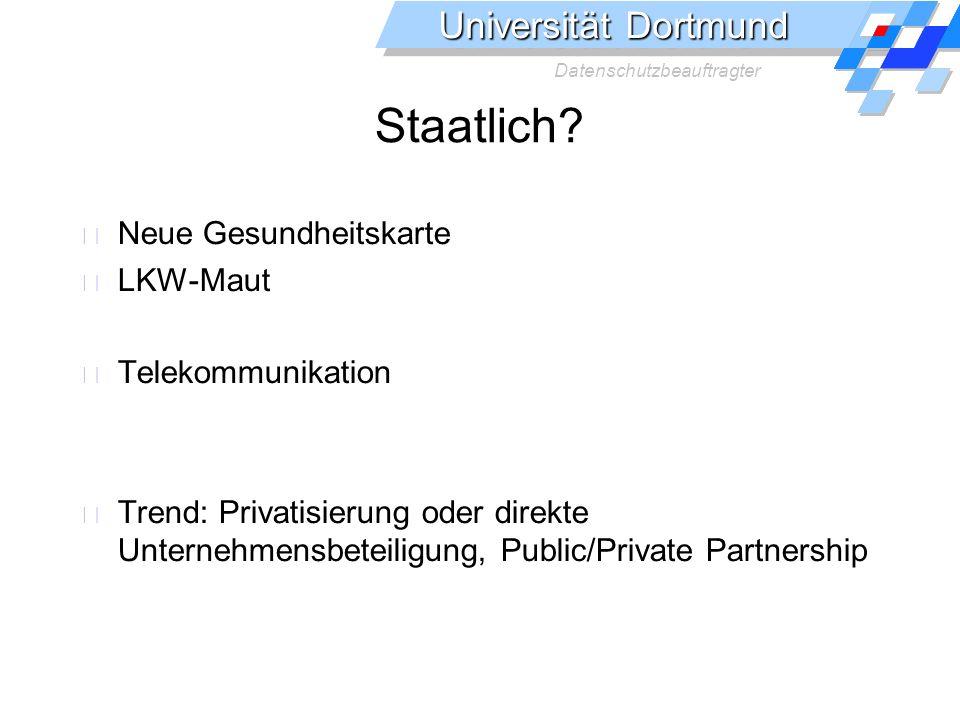 Universität Dortmund Datenschutzbeauftragter Datenflüsse im Gesundheitswesen Gesetzliche Kranken- versicherungen Kassenärztliche Vereinigung Zugelassene Ärzte Patienten Apotheken/ Heilberufe Krankenhäuser Ärzte
