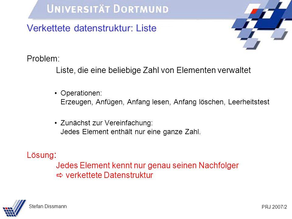 PRJ 2007/23 Stefan Dissmann Implementierung: Liste public void fügeAn(int w) { IntElement neu = new IntElement(w); if (anfang == null) { anfang = ende = neu; } else { ende.verkette(neu); ende = neu; } wert nachfolger wert nachfolger anfang ende wert nachfolger neu …