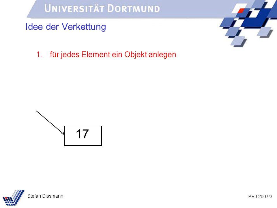 PRJ 2007/24 Stefan Dissmann Implementierung: Liste public void fügeAn(int w) { IntElement neu = new IntElement(w); if (anfang == null) { anfang = ende = neu; } else { ende.verkette(neu); ende = neu; } wert nachfolger wert nachfolger anfang ende wert nachfolger neu …
