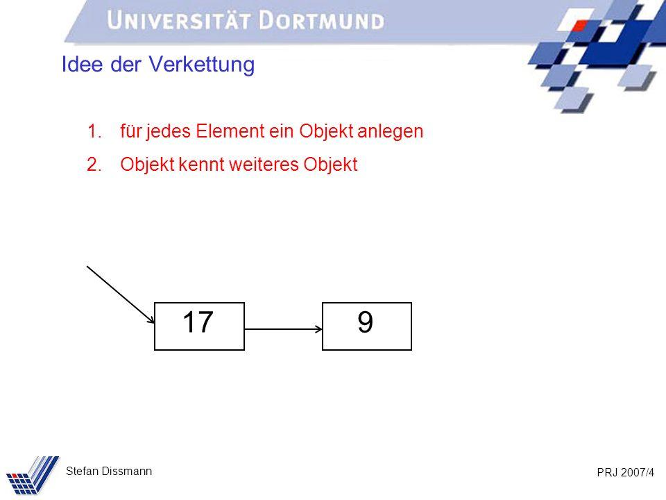 PRJ 2007/5 Stefan Dissmann Idee der Verkettung 17 933 1.für jedes Element ein Objekt anlegen 2.Objekt kennt weiteres Objekt 3.und so fort …