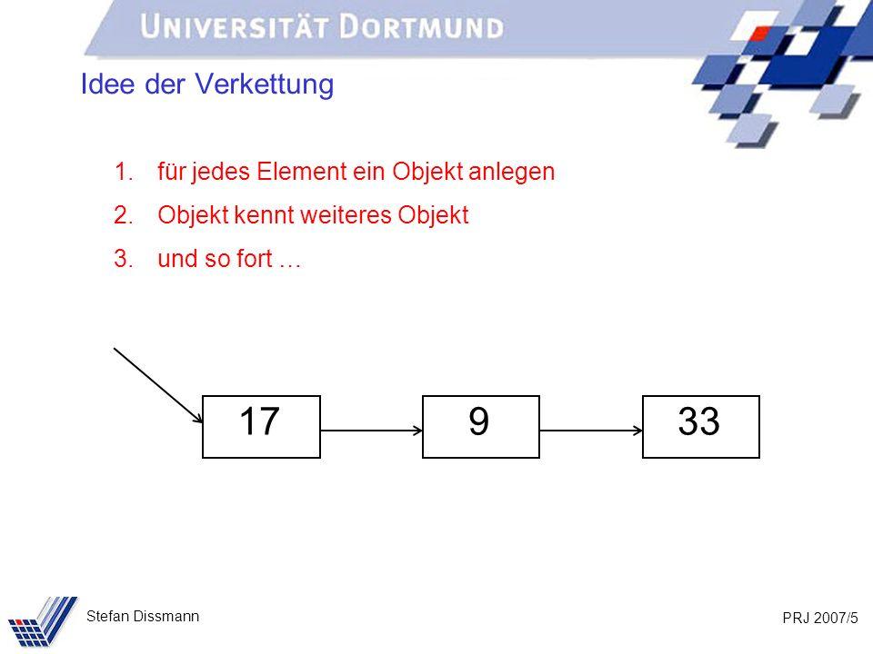 PRJ 2007/26 Stefan Dissmann Implementierung: Liste public int gibErstes() { if (anfang != null) return anfang.gibWert(); else return 0; }