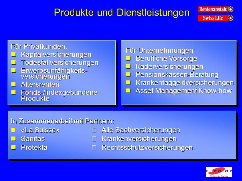 Produkte und Dienstleistungen Für Privatkunden: nKapitalversicherungen nTodesfallversicherungen nErwerbsunfähigkeits- versicherungen nAltersrenten nFonds-/indexgebundene Produkte Für Unternehmungen: nBerufliche Vorsorge nKaderversicherungen nPensionskassen-Beratung nKrankentaggeldversicherungen nAsset Management Know-how In Zusammenarbeit mit Partnern: n«La Suisse» Alle Sachversicherungen nSanitas Krankenversicherungen nProtekta Rechtsschutzversicherungen