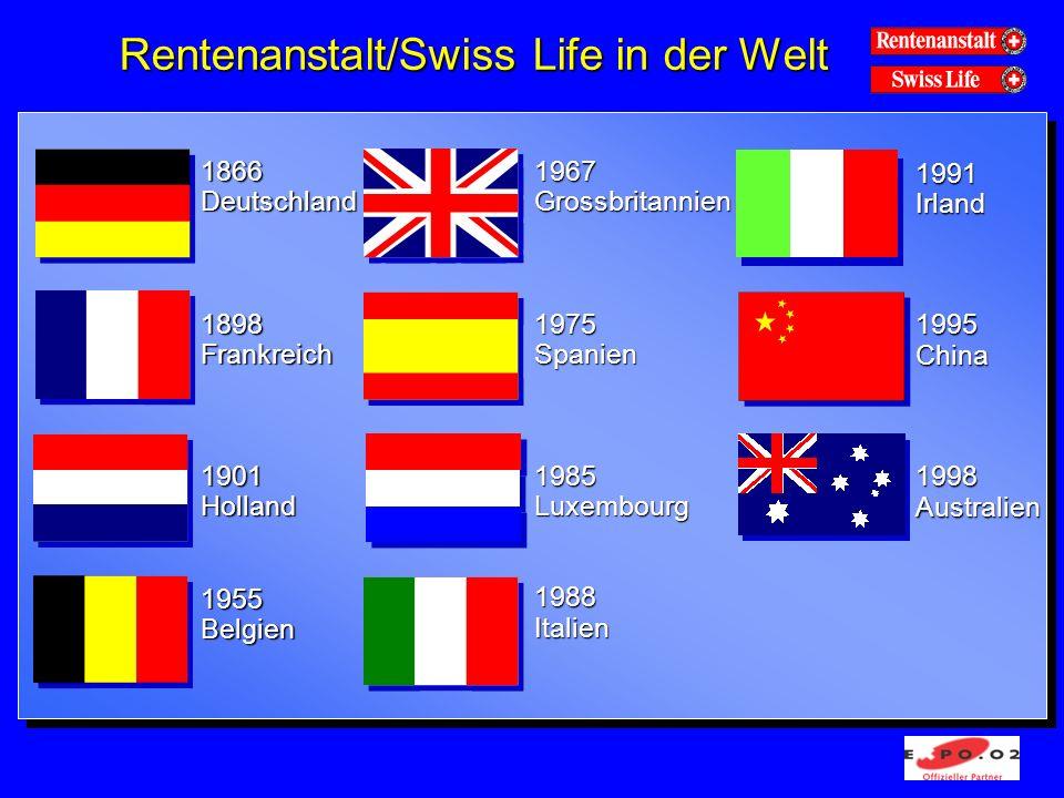 Rentenanstalt/Swiss Life in der Welt 1866 Deutschland 1898 Frankreich 1901 Holland 1955 Belgien 1967 Grossbritannien 1975 Spanien 1985 Luxembourg 1988 Italien 1991 Irland 1995 China 1998 Australien