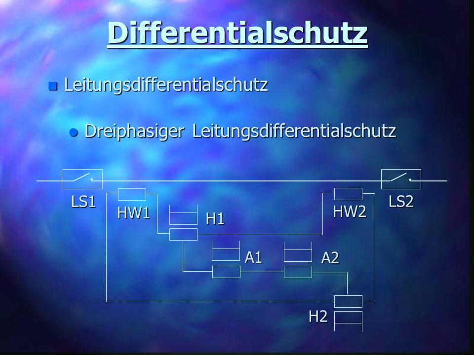 Differentialschutz n Leitungsdifferentialschutz l Dreiphasiger Leitungsdifferentialschutz H1 H2 A1 A2 HW1 HW2 LS1 LS2
