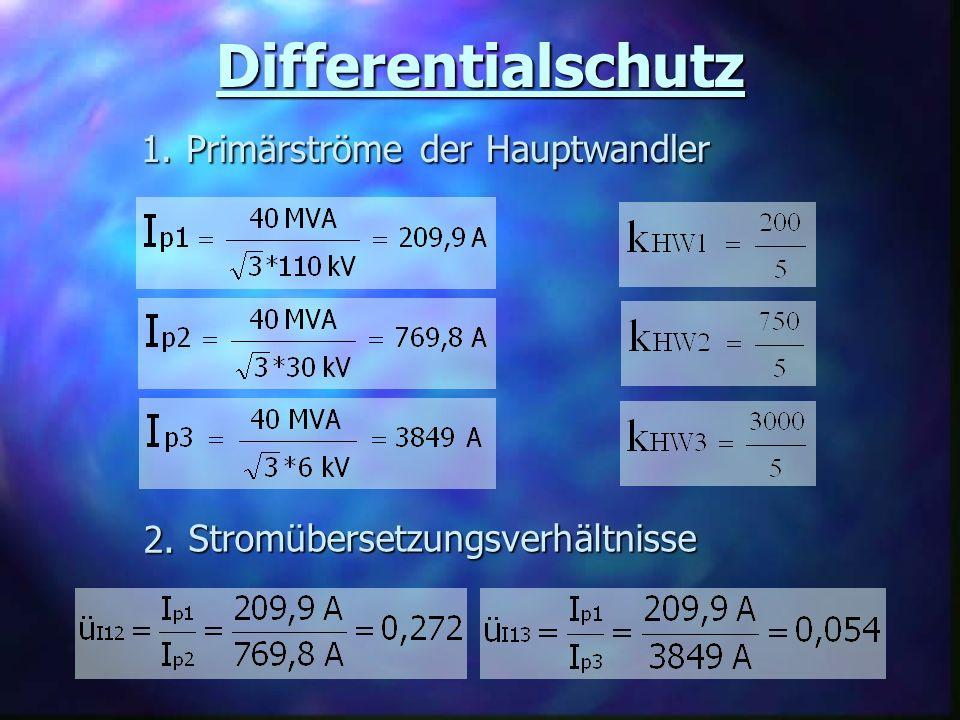 Differentialschutz Primärströme der Hauptwandler 1. 1. Stromübersetzungsverhältnisse 2. 2.