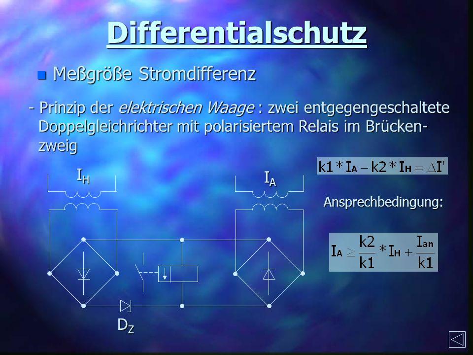 Differentialschutz n Meßgröße Stromdifferenz - Prinzip der elektrischen Waage : zwei entgegengeschaltete Doppelgleichrichter mit polarisiertem Relais