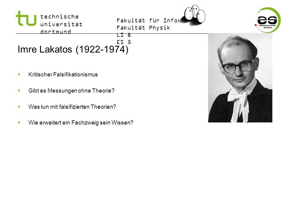 technische universität dortmund Fakultät für Informatik Fakultät Physik LS 8 ES 5 Imre Lakatos (1922-1974) Kritischer Falsifikationismus Gibt es Messu