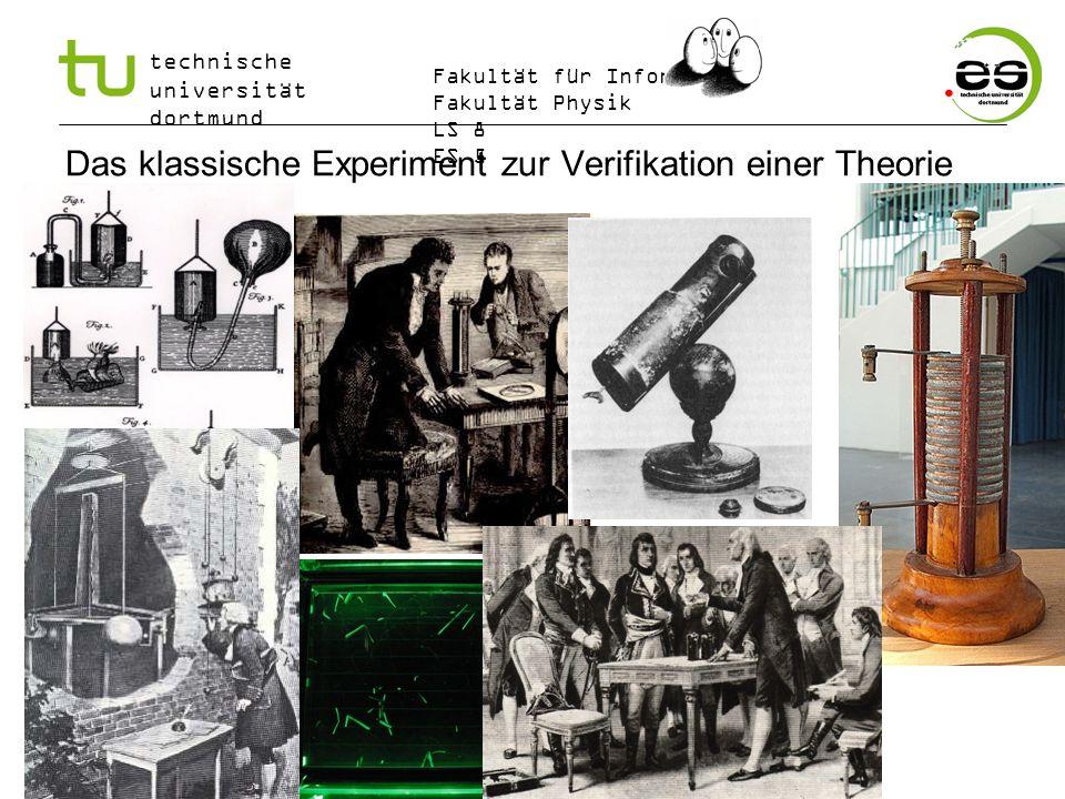 technische universität dortmund Fakultät für Informatik Fakultät Physik LS 8 ES 5 Das klassische Experiment zur Verifikation einer Theorie