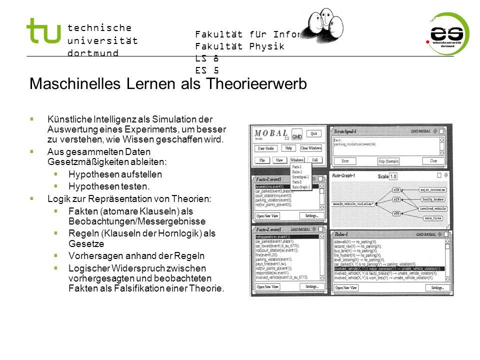 technische universität dortmund Fakultät für Informatik Fakultät Physik LS 8 ES 5 Maschinelles Lernen als Theorieerwerb Künstliche Intelligenz als Sim