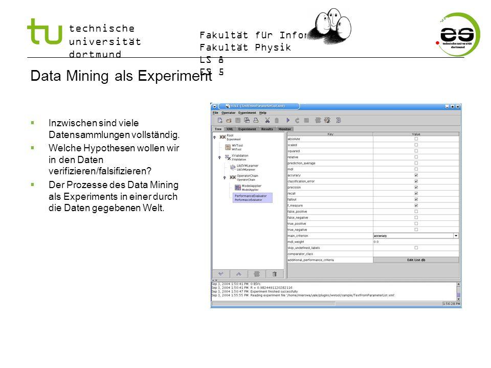 technische universität dortmund Fakultät für Informatik Fakultät Physik LS 8 ES 5 Data Mining als Experiment Inzwischen sind viele Datensammlungen vol