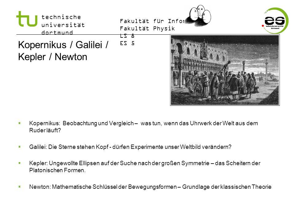 technische universität dortmund Fakultät für Informatik Fakultät Physik LS 8 ES 5 Kopernikus / Galilei / Kepler / Newton Kopernikus: Beobachtung und V