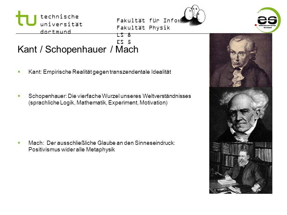 technische universität dortmund Fakultät für Informatik Fakultät Physik LS 8 ES 5 Kant / Schopenhauer / Mach Kant: Empirische Realität gegen transzend