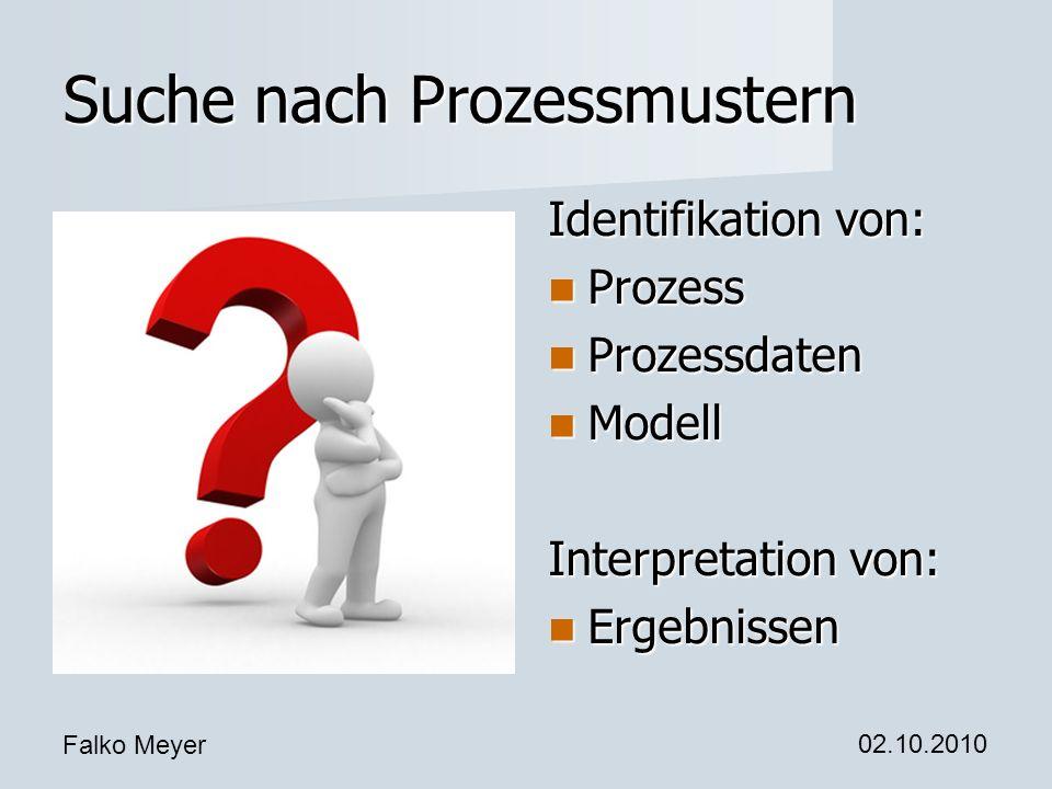 Falko Meyer 02.10.2010 Suche nach Prozessmustern Identifikation von: Prozess Prozess Prozessdaten Prozessdaten Modell Modell Interpretation von: Ergeb