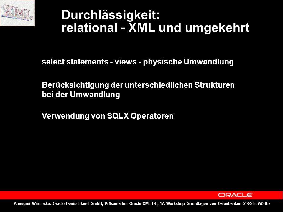 Annegret Warnecke, Oracle Deutschland GmbH, Präsentation Oracle XML DB, 17. Workshop Grundlagen von Datenbanken 2005 in Wörlitz Durchlässigkeit: relat