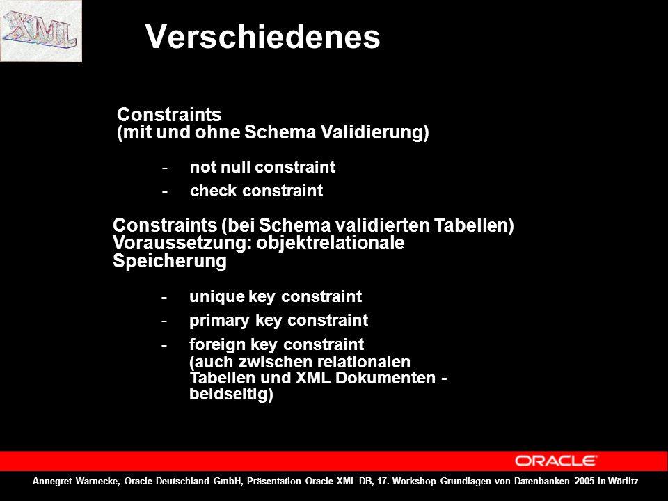 Annegret Warnecke, Oracle Deutschland GmbH, Präsentation Oracle XML DB, 17. Workshop Grundlagen von Datenbanken 2005 in Wörlitz Verschiedenes Constrai