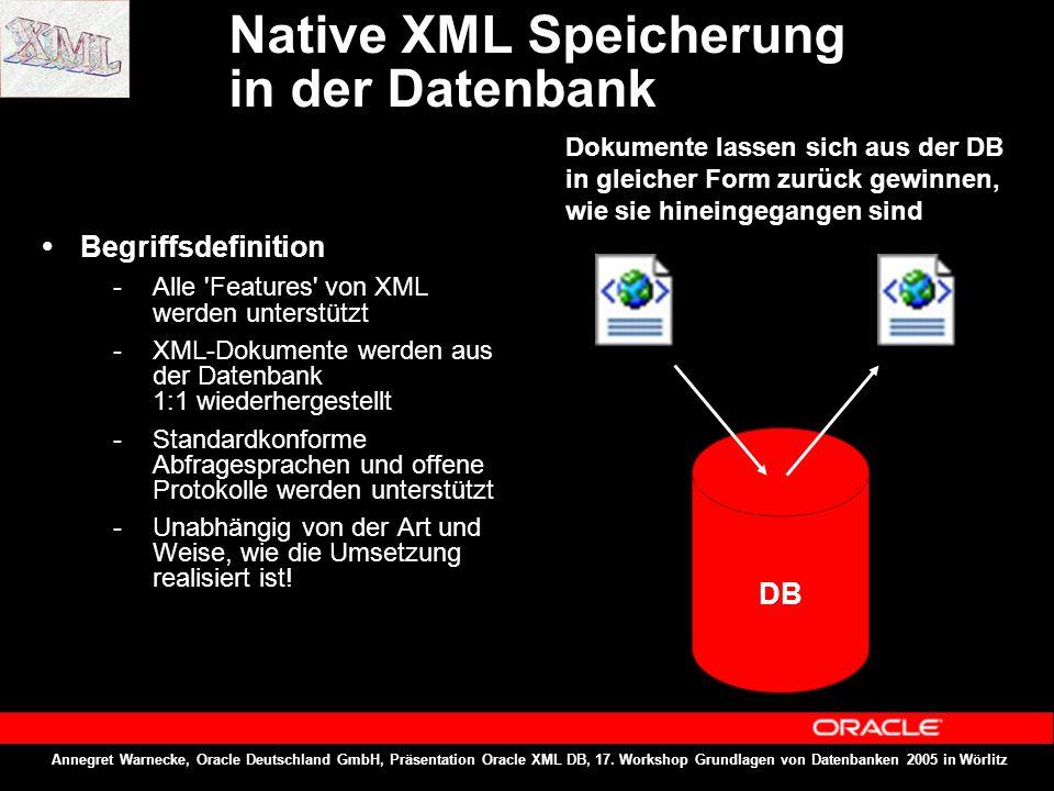 Annegret Warnecke, Oracle Deutschland GmbH, Präsentation Oracle XML DB, 17. Workshop Grundlagen von Datenbanken 2005 in Wörlitz Native XML Speicherung