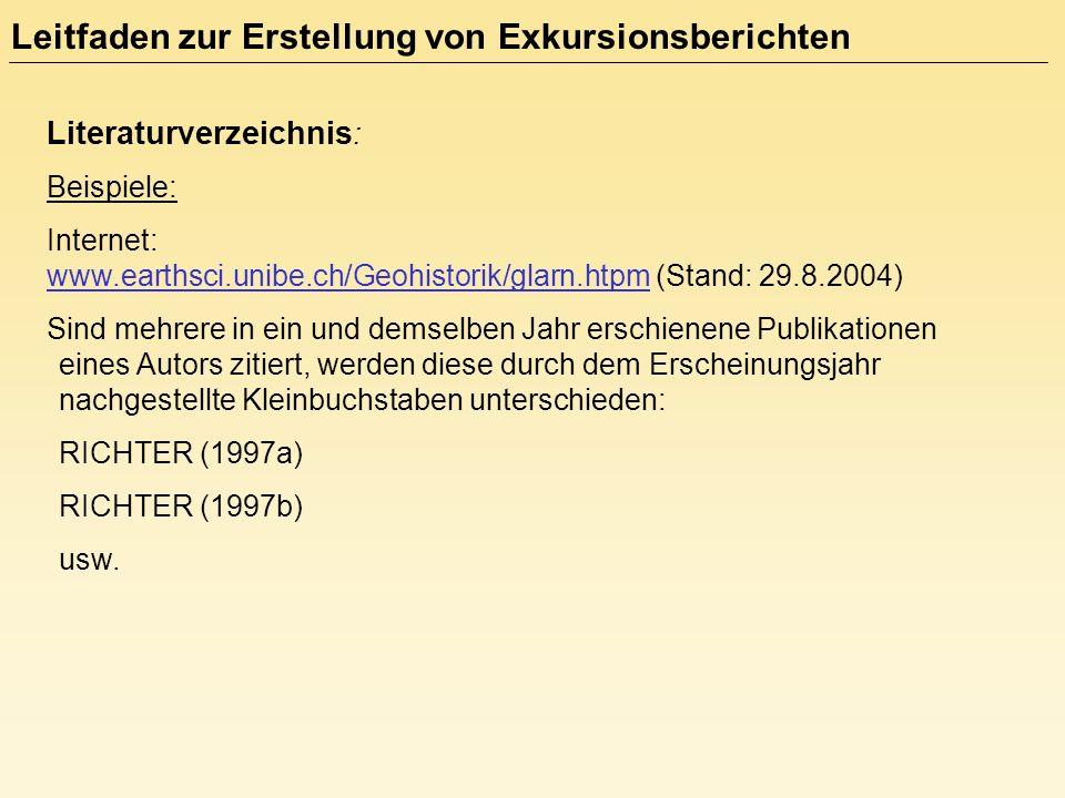 Literaturverzeichnis : Beispiele: Internet: www.earthsci.unibe.ch/Geohistorik/glarn.htpm (Stand: 29.8.2004) Sind mehrere in ein und demselben Jahr ers