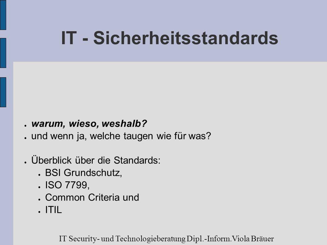 IT - Sicherheitsstandards warum, wieso, weshalb? und wenn ja, welche taugen wie für was? Überblick über die Standards: BSI Grundschutz, ISO 7799, Comm